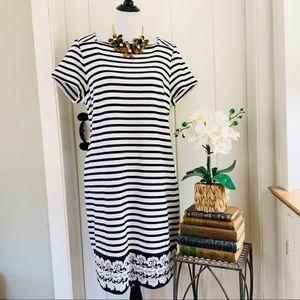 TALBOTS Navy & White Striped Lace Trim Dress